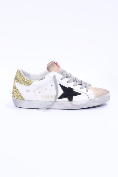 Golden Goose Superstar with Black Star and Glittery Gold Heel