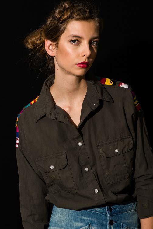 NSF Johnna Shoulder Detail Shirt OD Green