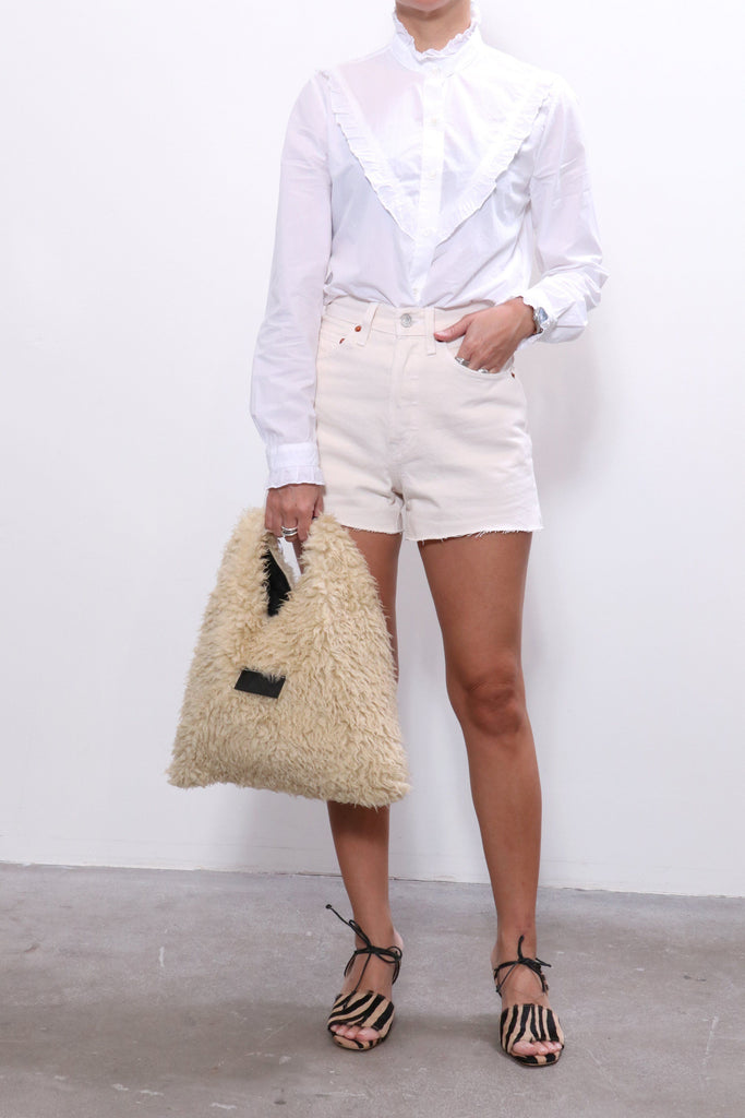 RE/DONE 50s Cutoffs in Vintage White, MM6 Bag, Maryam Nassir Zadeh Shoes