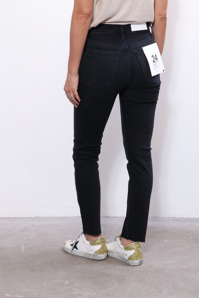 Re/done 90s High Rise Ankle Crop in Faded Black