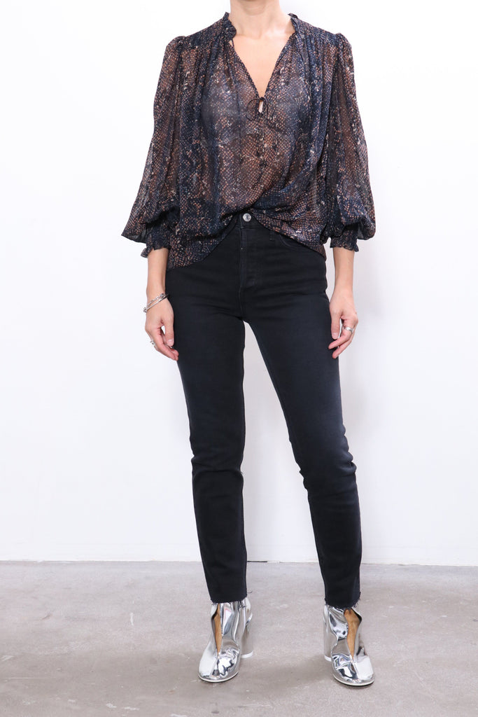 Ulla Johnson Anita Blouse in Midnight Python