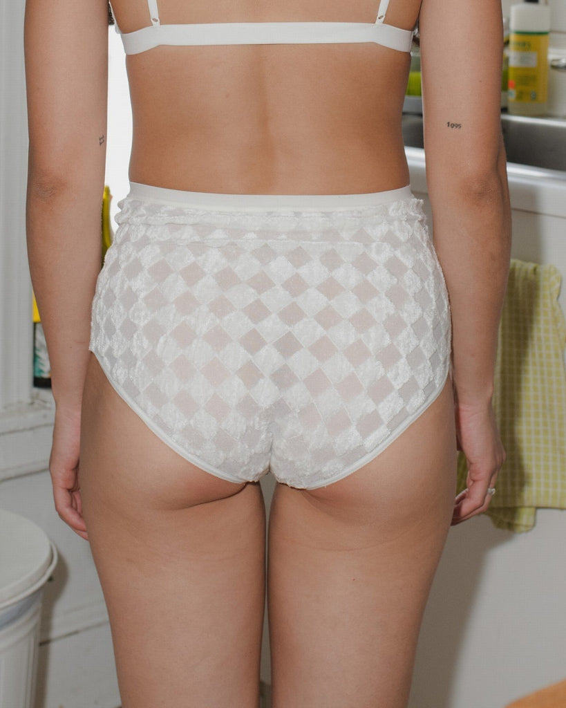 Baserange High-waist Bell Pants in Checked Off White Lingerie Baserange