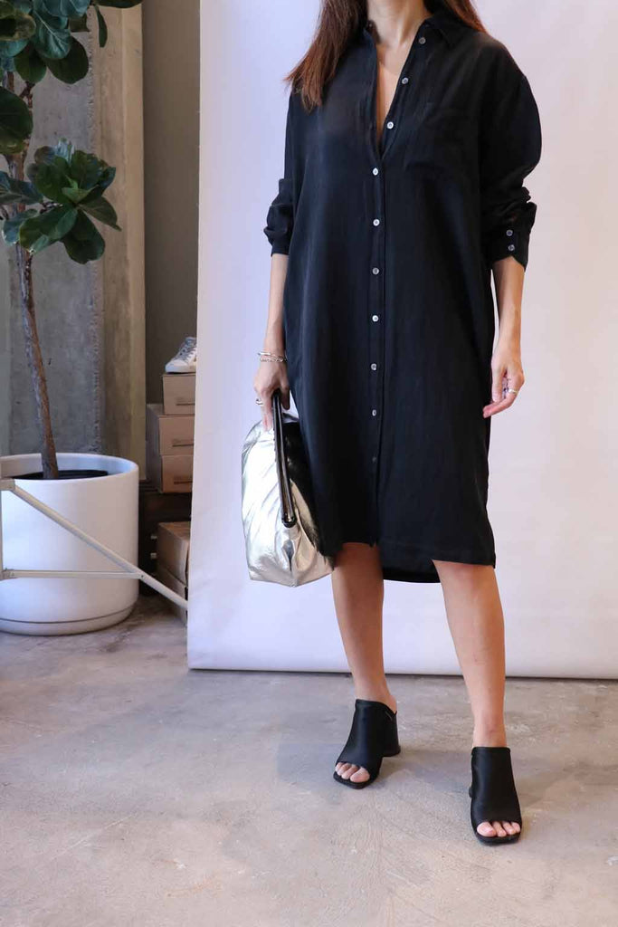 Raquel Allegra Classic Shirt Dress in Black