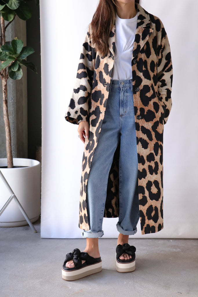 Ganni Canvas Coat in Maxi Leopard Outerwear Ganni