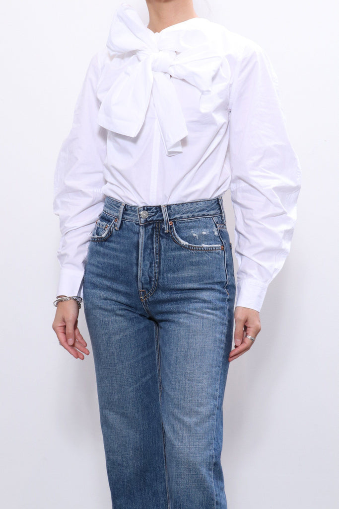 Ganni Cotton Poplin Blouse in Bright White