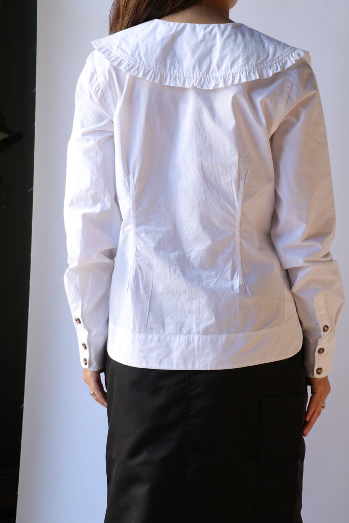 Ganni Cotton Poplin V-neck Shirt in Bright White tops-blouses Ganni