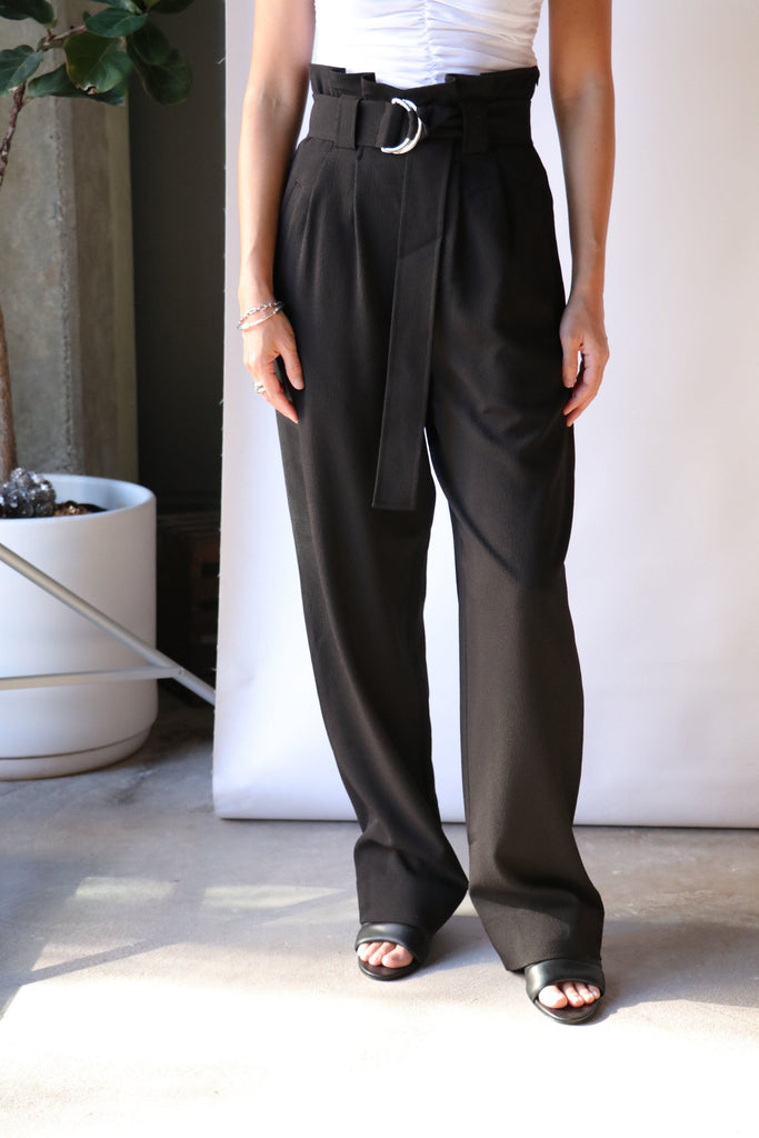 Ganni Heavy Crepe Belt Pants in Black Bottoms Ganni