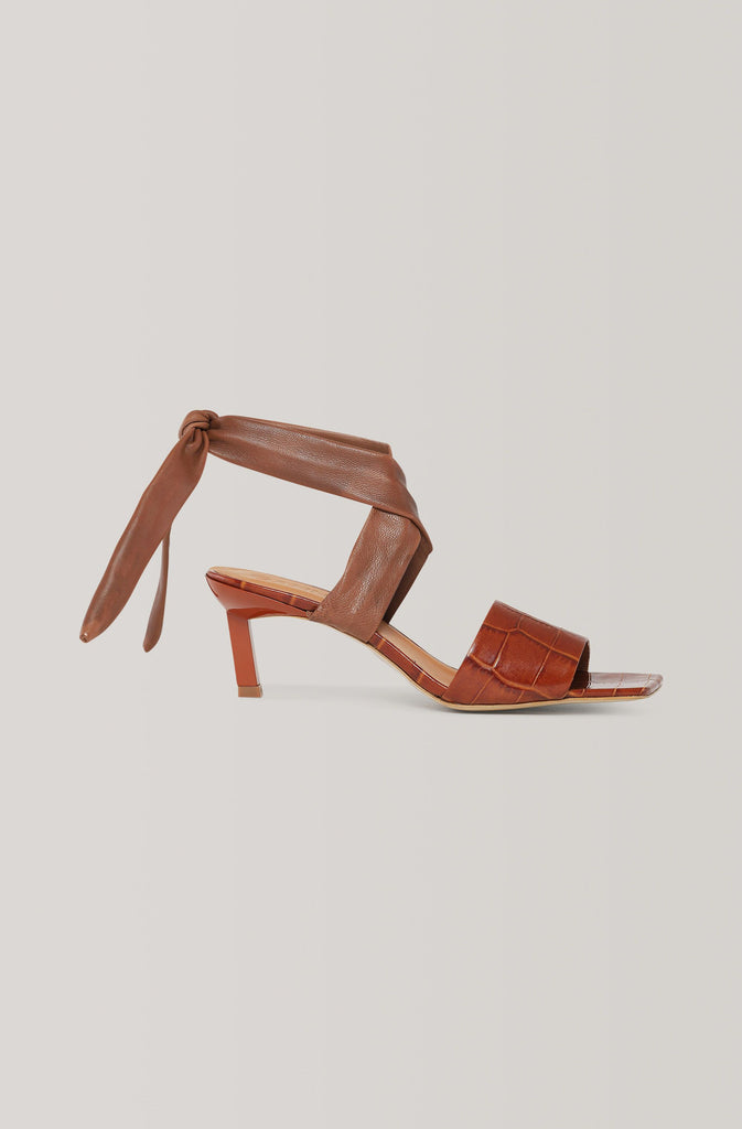 Ganni Leather Heeled Sandal in Cognac