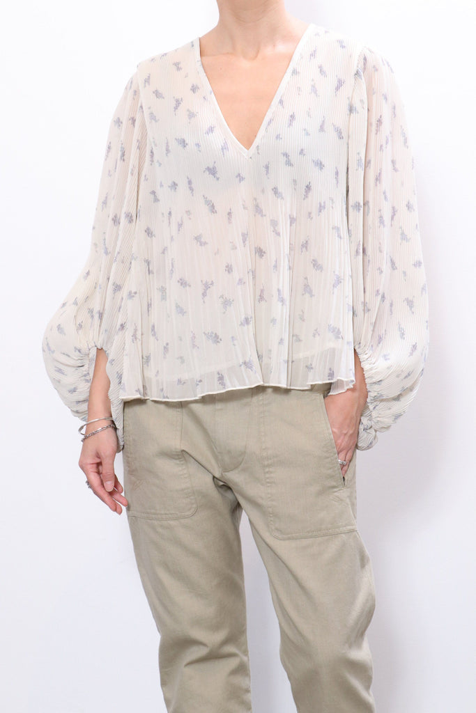 Ganni Pleated Georgette Blouse in Egret