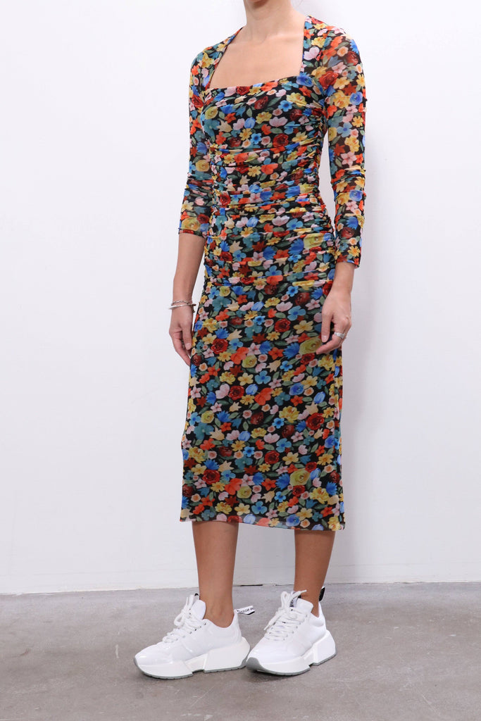 Ganni Printed Mesh Dress in Multicolor
