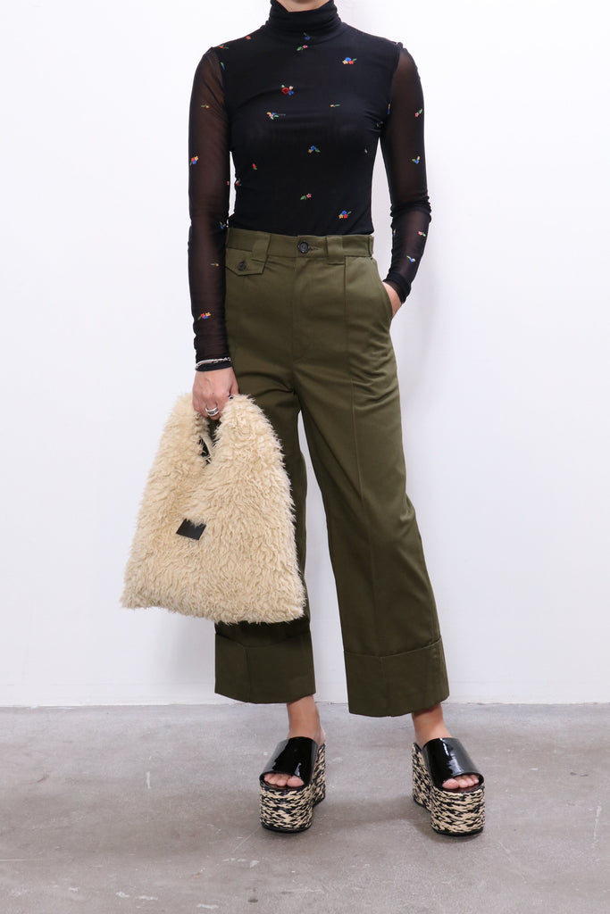 Ganni Printed Mesh Top in Black w/ Rachel Comey Pants, MM6 Bag, Simon Miller Platforms