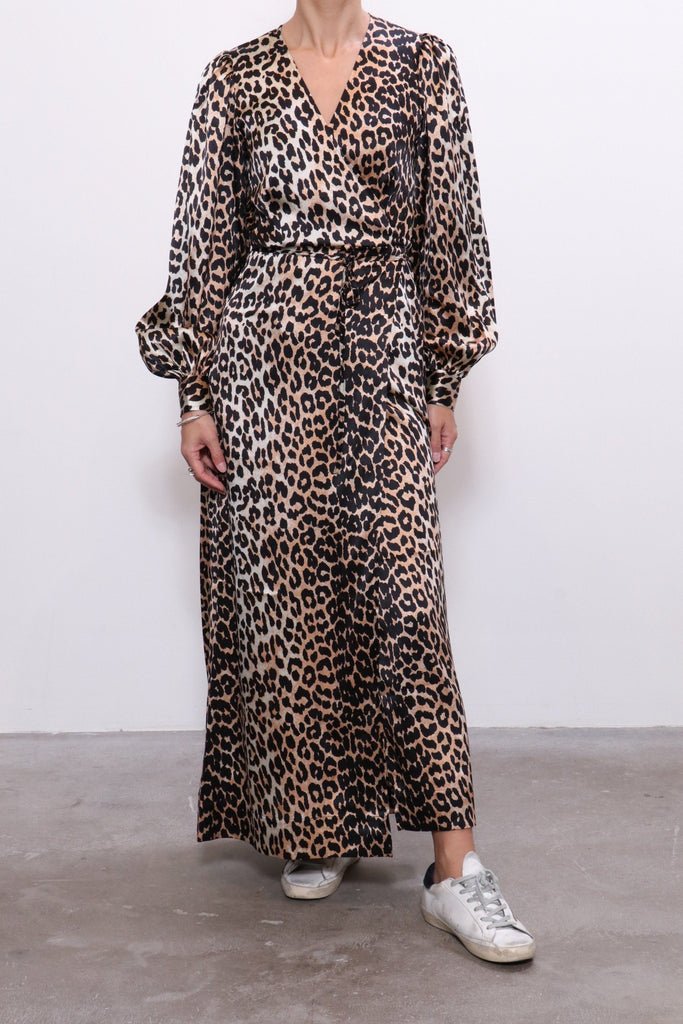 Ganni Silk Stretch Wrap Dress in Leopard - WE ARE ICONIC