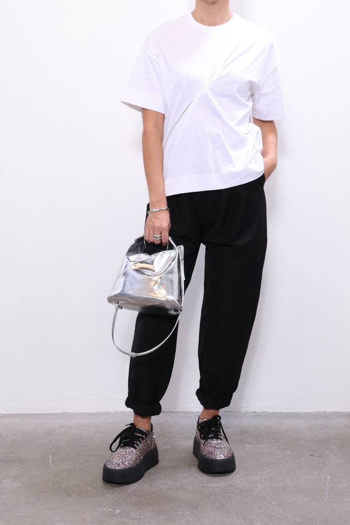 Ganni Stitch T-Shirt in Bright White w/ Hope Pants, MM6 Sneakers, MM6 Bag