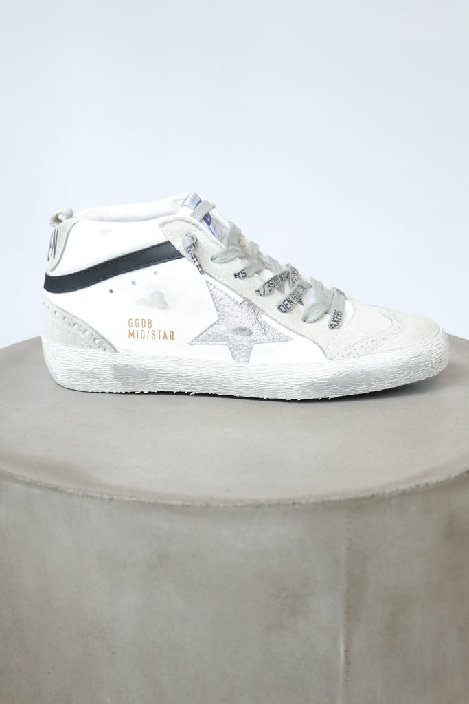 Golden Goose Mid Star Leather Upper & Wave Laminated Star Shoes Golden Goose