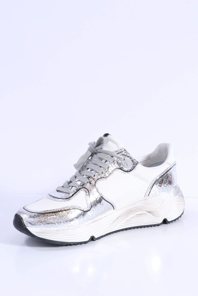Golden Goose Running Sole Sneakers in White-Silver Shoes Golden Goose