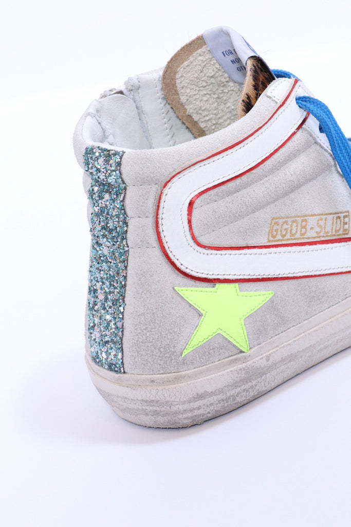 Golden Goose Slide Sneakers with Leopard-print Pony Skin Insert and Leather Star