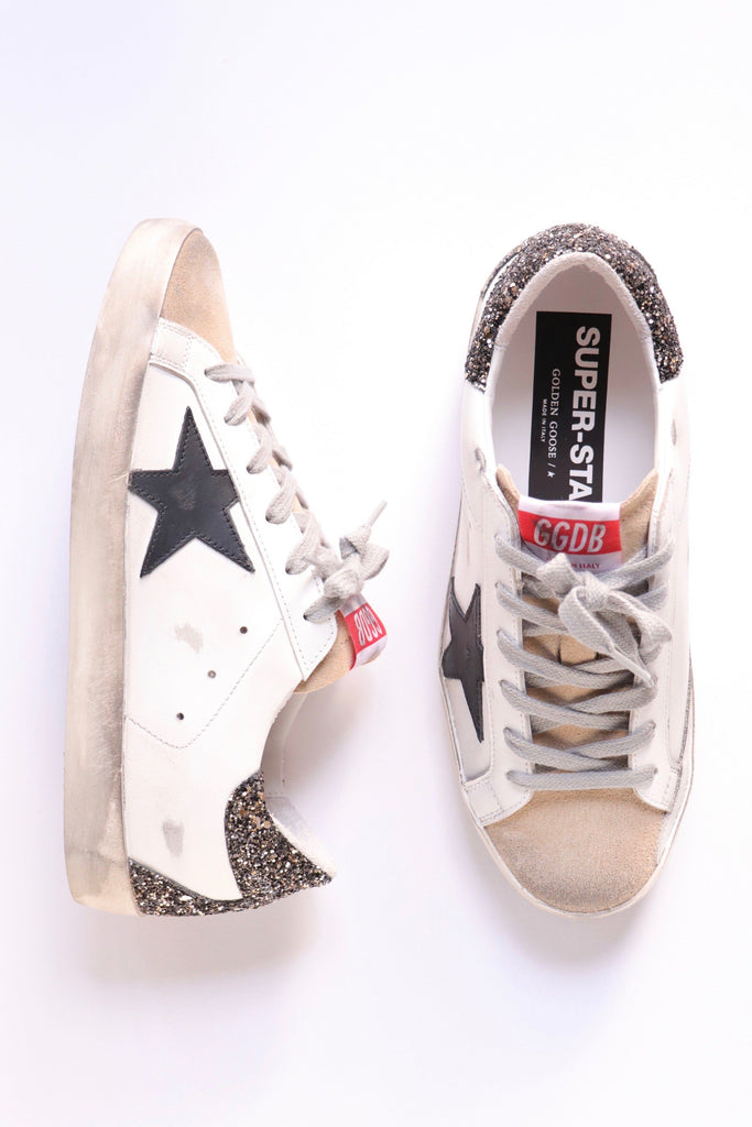 Golden Goose Super Star w/ Leather Star and Glitter Heel Tab Shoes Golden Goose