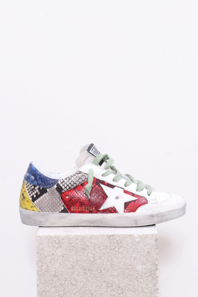 Golden Goose Superstar in Multi Color Snake with White Star - WE ARE ICONIC