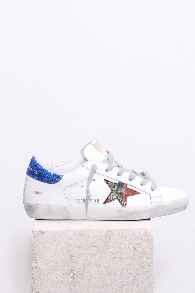 Golden Goose Superstar in White-Blue Orange Print - WE ARE ICONIC