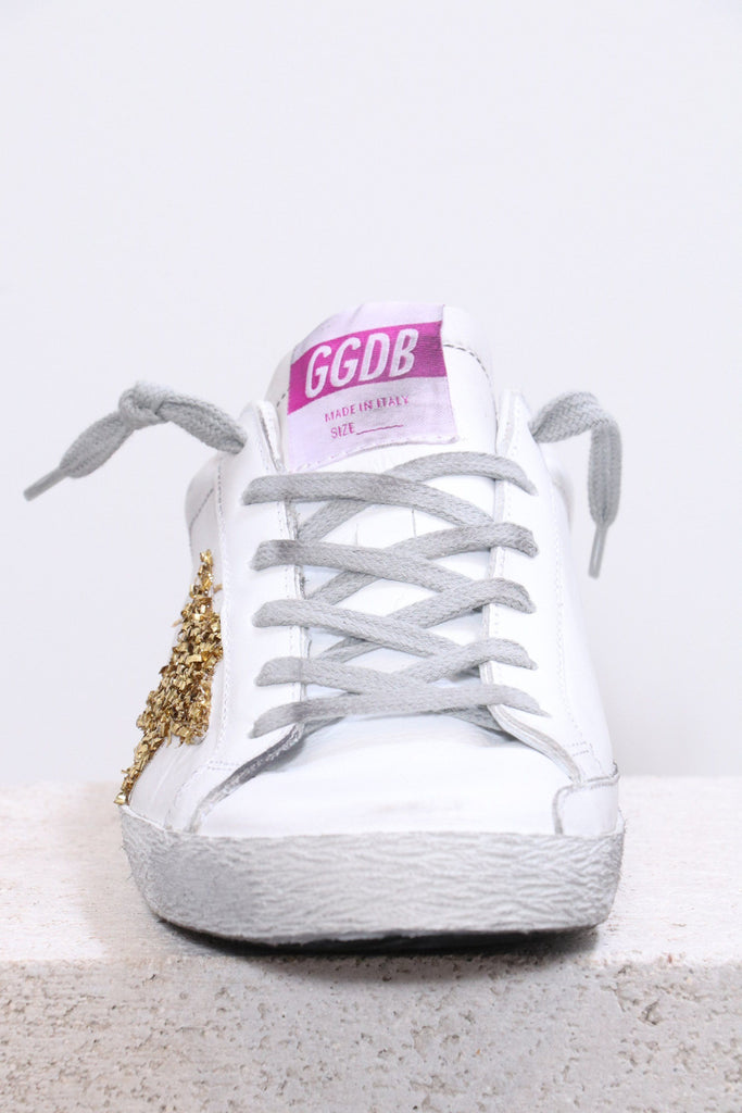 Golden Goose Superstar in White Leather Gold Poodle Star - WE ARE ICONIC