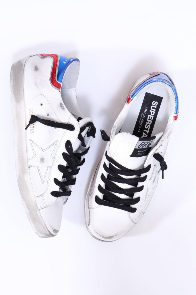 Golden Goose Superstar in White/Blue/Red