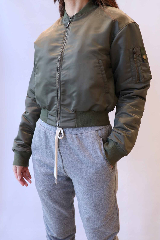 John Elliott Hunter Cropped Bomber in Olive