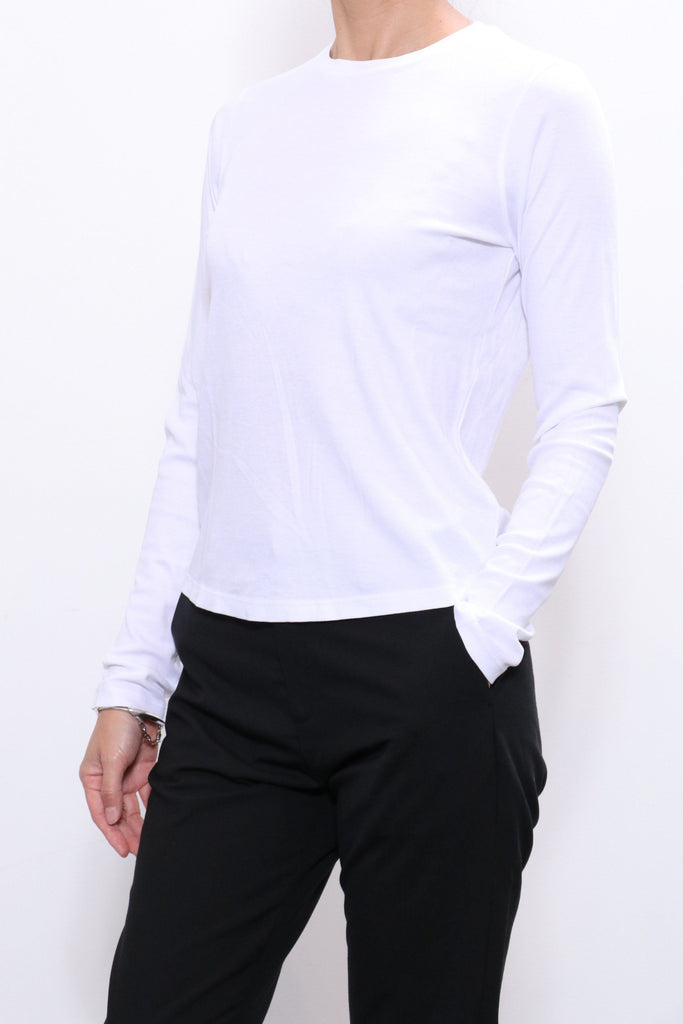 John Elliott High Twist LS Classic Tee in White - WE ARE ICONIC