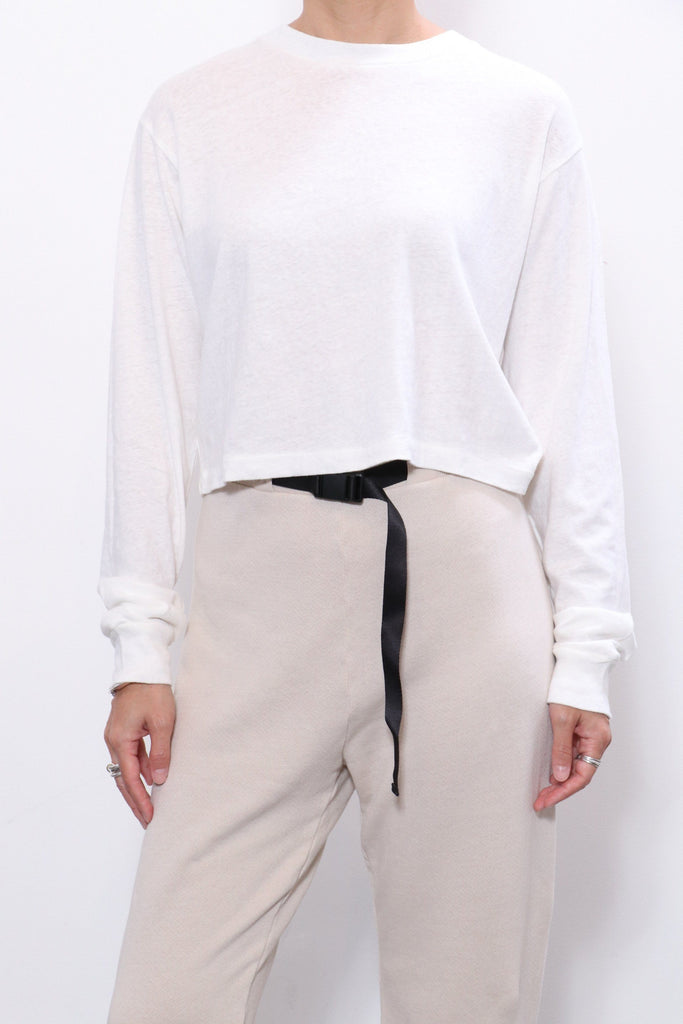 John Elliott LS Cropped Tee in Chalk
