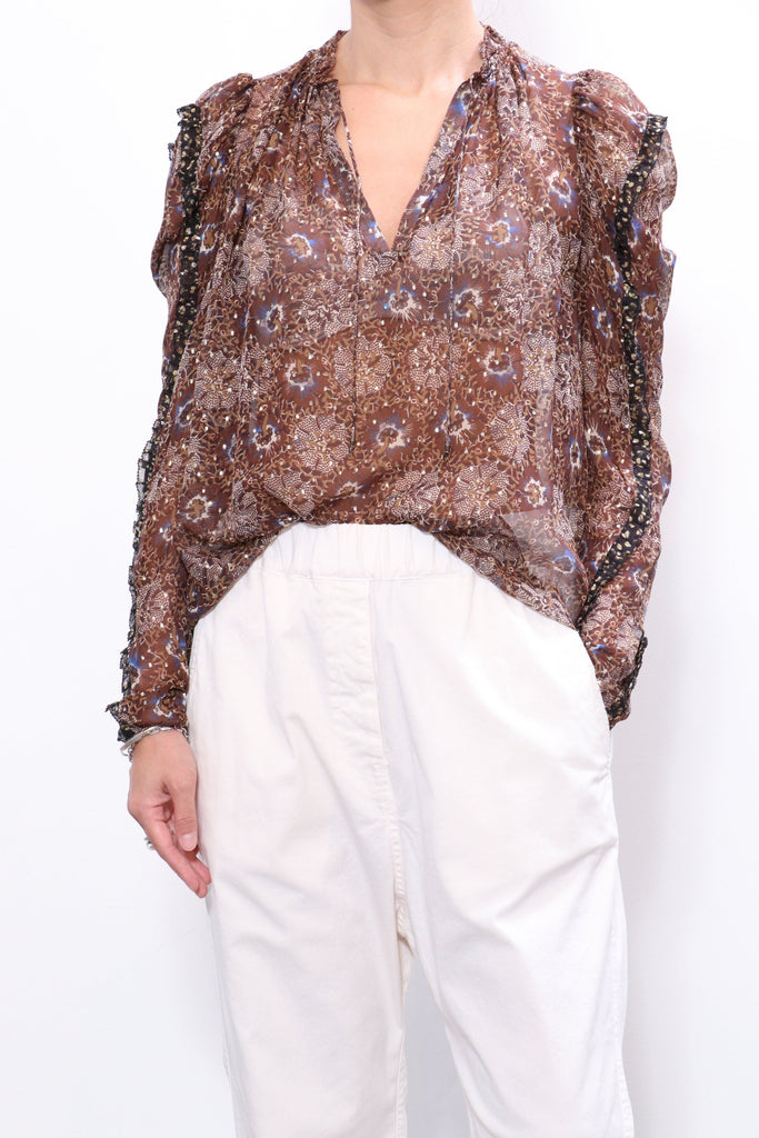 Marilla Blouse in Noir Patchwork tops-blouses Ulla Johnson