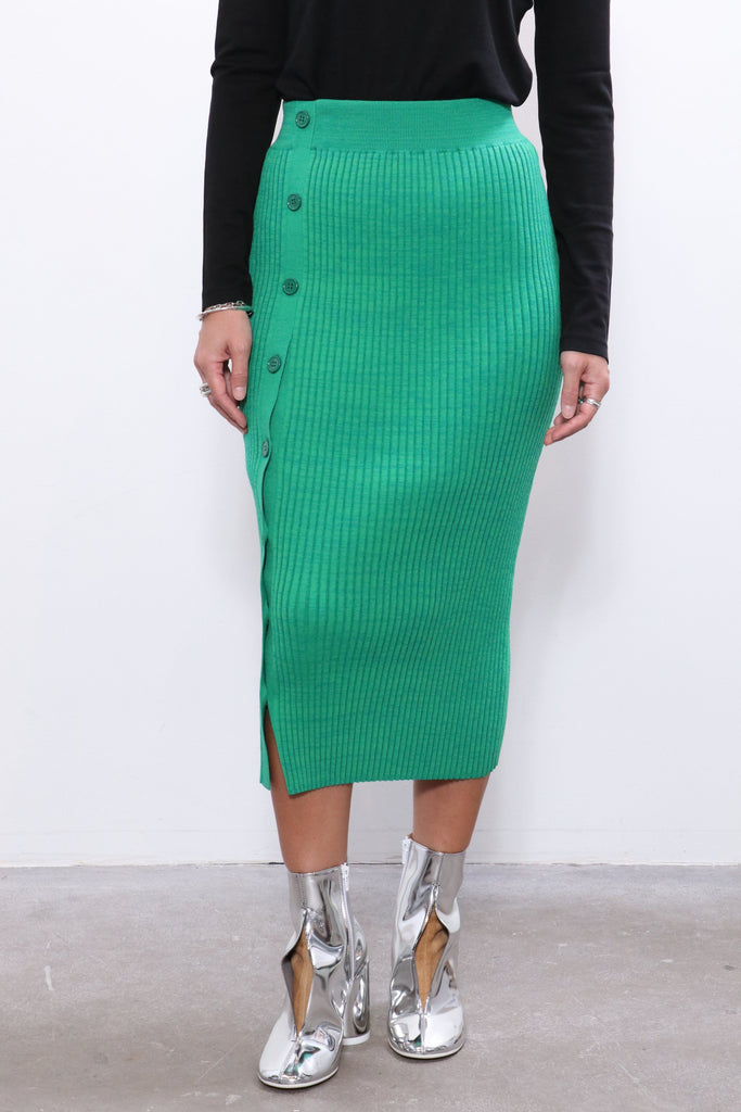 MM6 Maison Margiela Pleated Skirt in Green