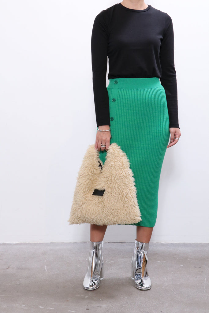 MM6 Maison Margiela Pleated Skirt in Green w/ MM6 Shoes & bag