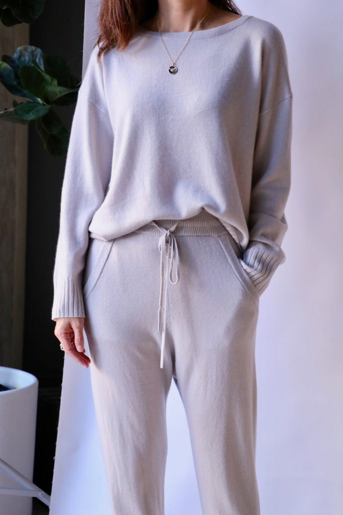 Nili Lotan Boyfriend Sweater in Smokey Grey Knitwear Nili Lotan