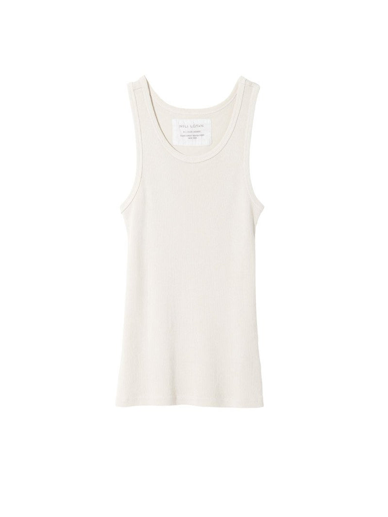 Nili Lotan Coana Top in Chalk T-Shirts & Tanks Nili Lotan