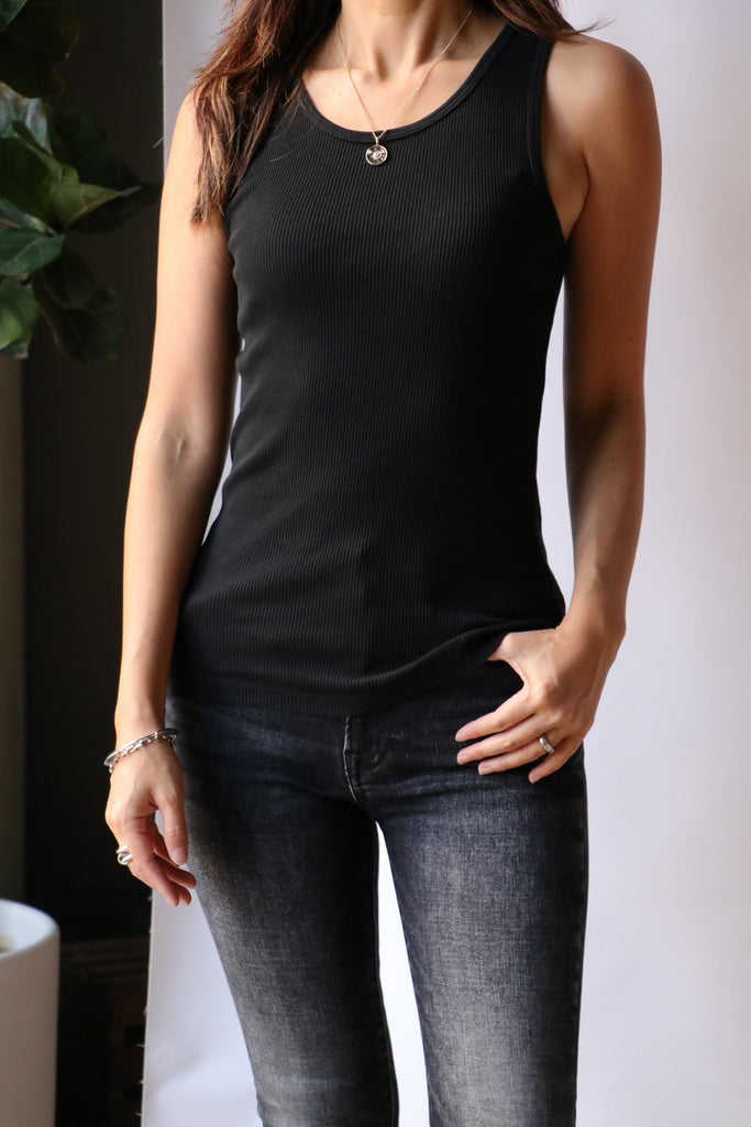 Nili Lotan Coana Top in Washed Black T-Shirts & Tanks Nili Lotan