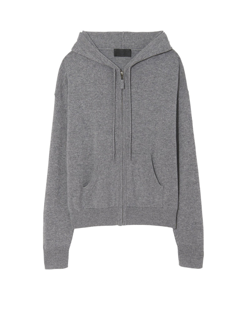 Nili Lotan Emmaline Zip Front Hoodie in Heather Grey Knitwear Nili Lotan