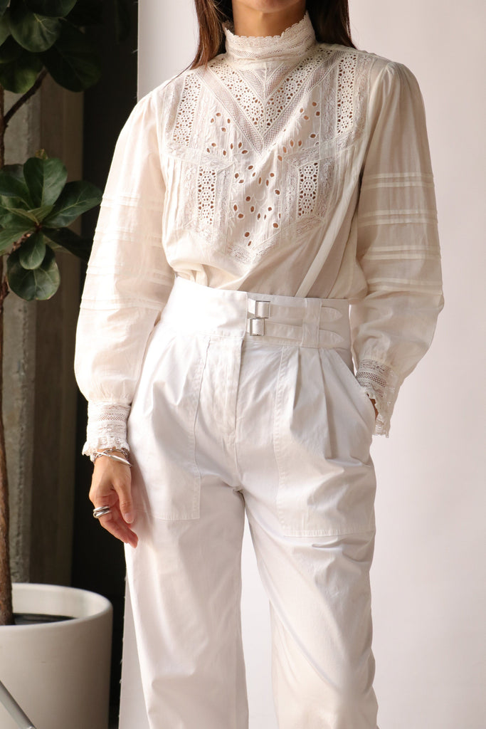 Nili Lotan Evie Embroidered Top in Ivory tops-blouses Nili Lotan