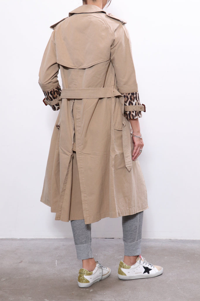 R13 3/4 Sleeve Trench with Fold Over Cuff in Khaki