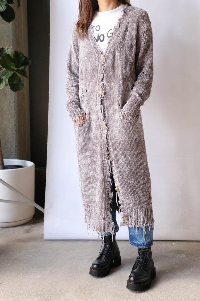 R13 Long Chenille Cardigan in Grey Knitwear R13