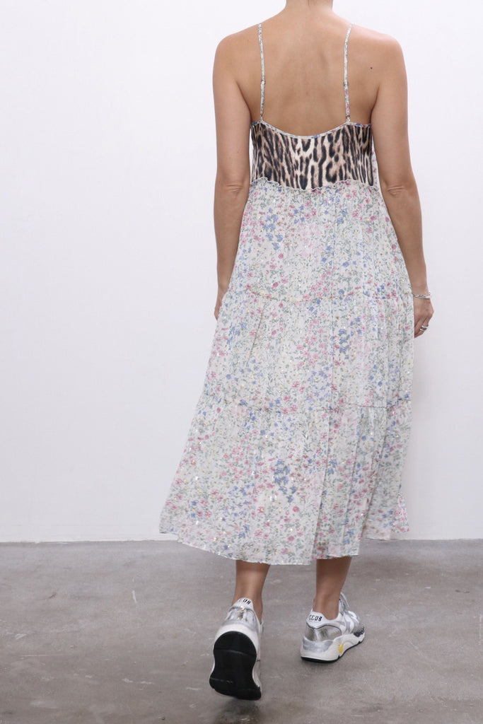R13 Midi Tiered Slip in Ecru Floral with Leopard