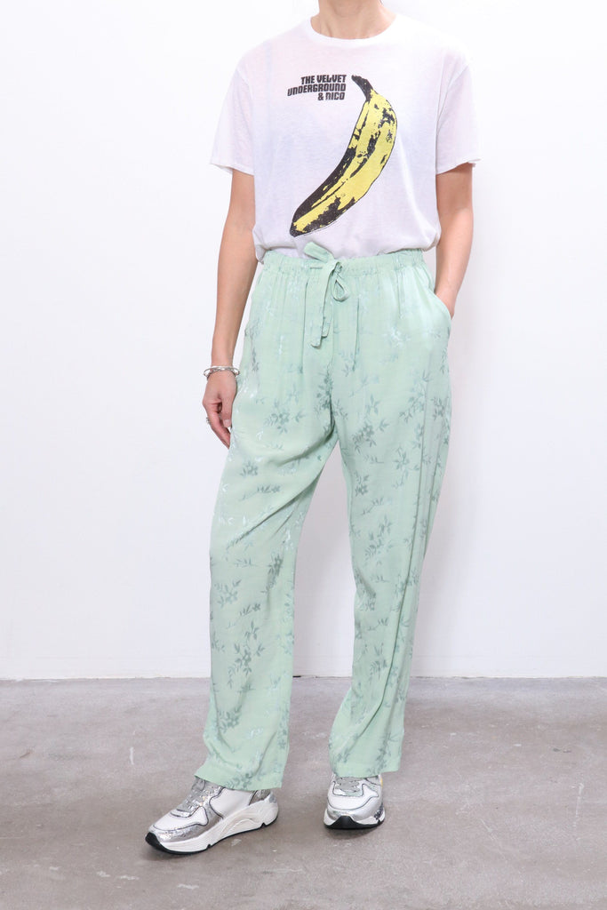 Raquel Allegra Jacquard Drawstring Trouser in Mint