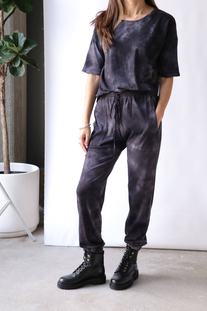 Raquel Allegra Jersey Pants in Black Camo Bottoms Raquel Allegra