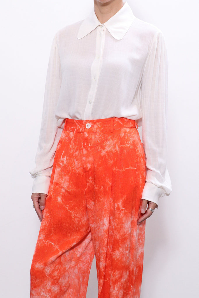 Raquel Allegra Puffed Sleeve Shirt in Dirty White
