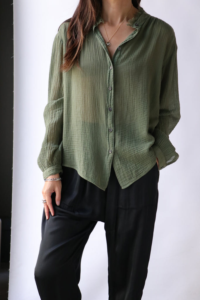 Raquel Allegra Shirred Blouse in Army tops-blouses Raquel Allegra