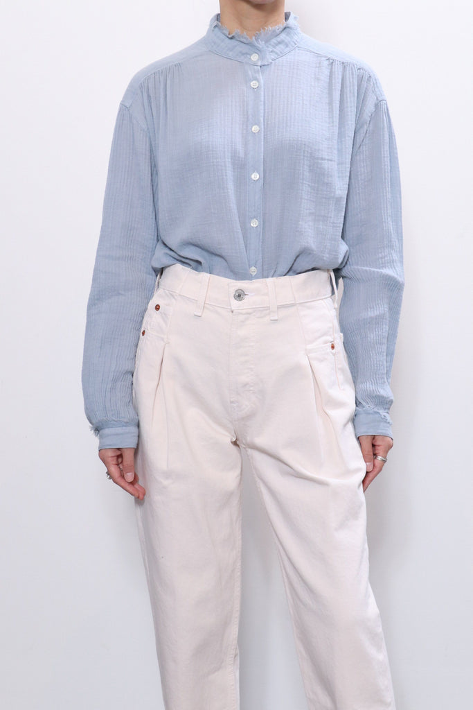 Raquel Allegra Shirred Blouse in Dusty Blue