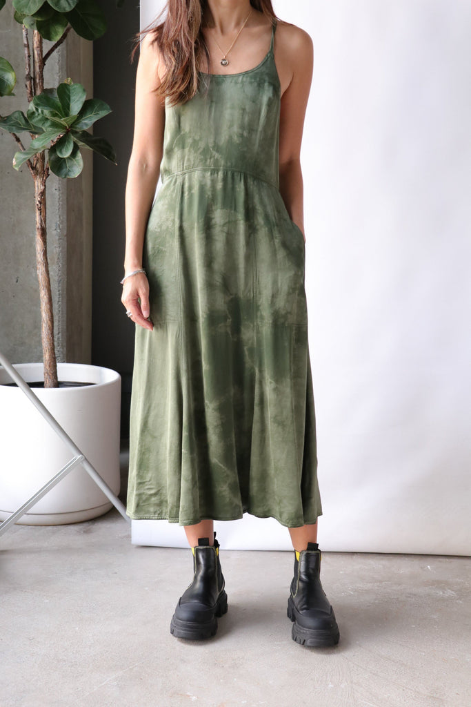 Raquel Allegra Sienna Dress in Army Cloudwash Dresses Raquel Allegra