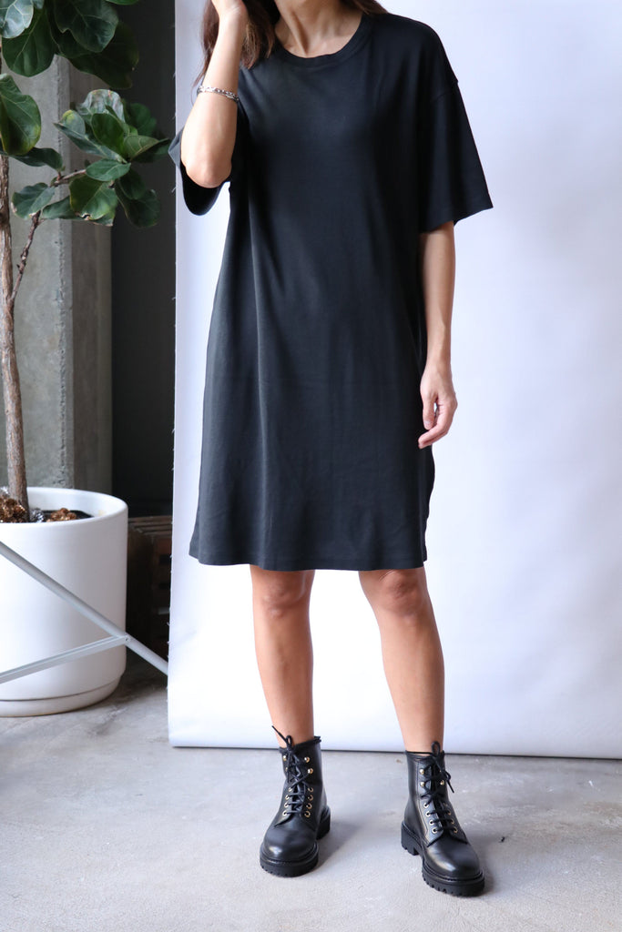 Raquel Allegra T-Shirt Dress in Black Dresses Raquel Allegra