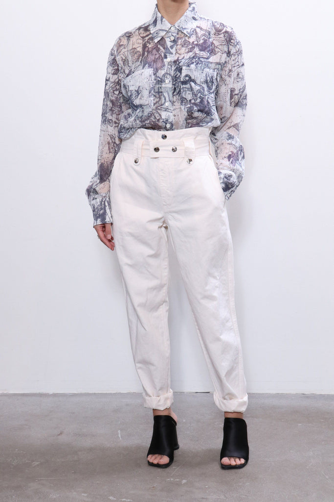 Raquel Allegra Work Shirt in White Zodiac