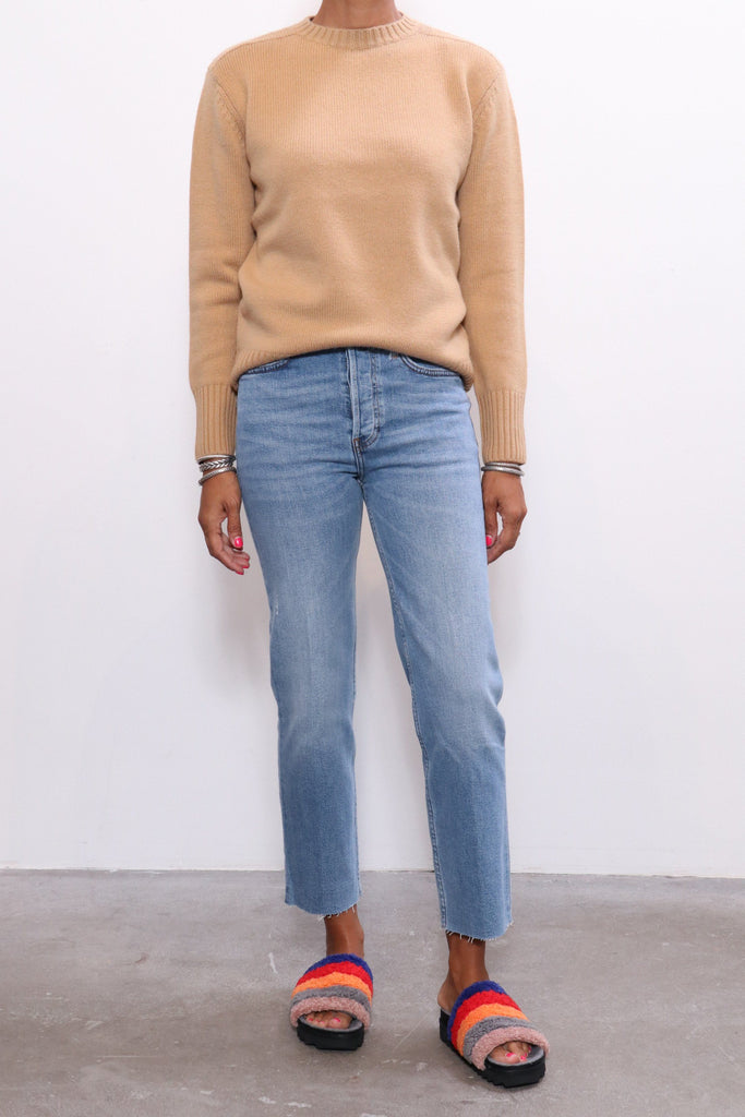 RE/DONE 40s Crewneck Sweater in Camel - WE ARE ICONIC