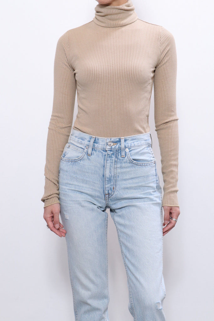 Re/done 60s Long Sleeve Turtleneck in Sand tops-blouses RE/DONE