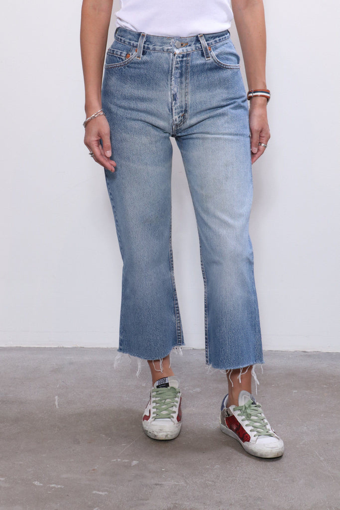 Re/done 70s Super Crop Boot in Indigo